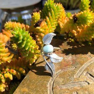 Larimar Leaf Sterling Silver Ring Sz 8.5